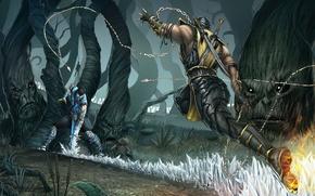Картинка лес, драка, scorpion, mortal kombat, sub zero