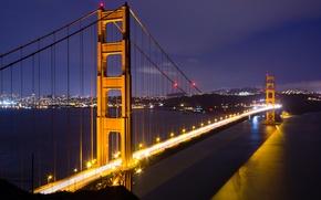 Картинка ночь, Сан-Франциско, bridge, night, San Francisco, Golden Gate, мост Золотые ворота