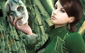 Обои маска, зеленый, загадка