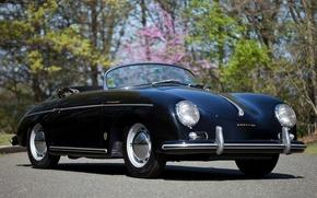 Картинка фон, чёрный, Porsche, родстер, Порше, классика, передок, 1955, Pre-A, Speedster, by Reutter, 356