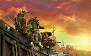 Картинка крыша, небо, город, оружие, рассвет, фэнтези, четверо, зарево, маски, постер, Raphael, Leonardo, Donatello, Michelangelo, Teenage …