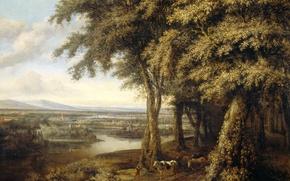 Картинка пейзаж, природа, картина, Конинк Филипс, Лесной Пейзаж с Видом на Реку
