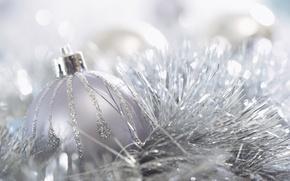 Обои Праздник, мишура, фон, картинка, елочное, мерцание, шарик, обои, новый год, настроение, украшение, Рождество