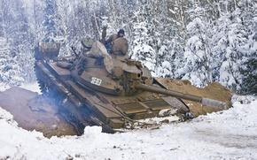 Картинка зима, снег, ссср, танк, т-62