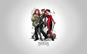 Картинка fantasy, girls, art, background, comics, artwork, superheros, DC Comics, Catwoman, Selina Kyle, Harley Quinn, Poison ...