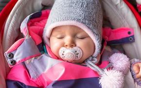 Картинка ребенок, спит, Winter, шапочка, младенец, baby, kid, Sleep, Infants