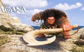 Обои оружие, веревка, Moana, мультфильм, море, Walt Disney Pictures, фэнтези, Maui, Моана, камни