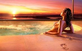 Картинка песок, закат, отдых, 156, джакузи