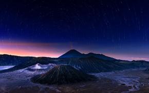 Обои вулкан, Бромо, Индонезия, Ява, Indonesia, ночь, Bromo-Tengger-Semeru National Park, небо, звезды