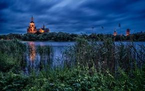 Обои Germany, Stralsund, Knieperteich Lake, Штральзунд, Германия, Мекленбург - Передняя Померания, St Mary's Church, церковь, Mecklenburg-Vorpommern, ...