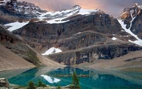 Обои деревья, Озеро, снег, горы