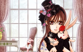 Картинка девушка, игрушки, розы, кролики, Vampire Knight