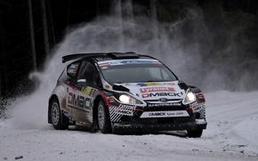 Картинка Ford, Зима, Снег, Поворот, Занос, Car, WRC, Rally, Fiesta