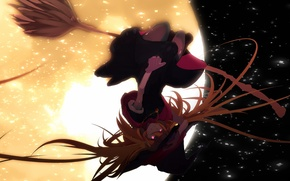 Картинка девушка, полет, ночь, луна, шляпа, аниме, арт, ведьма, метла, tarbo, exxxpiation