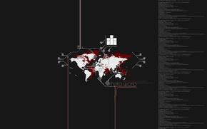 Обои код, Минимализм, карта