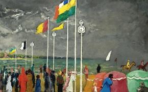 Картинка небо, тучи, люди, берег, картина, флаг, жанровая, Kees van Dongen, The clock on the beach ...