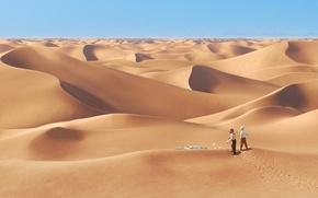 Обои песок, люди, пустыня, мультфильм, кости, заблудились, tintin the movie