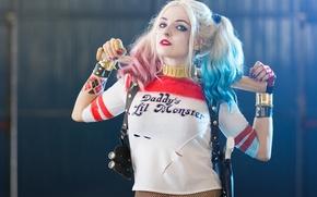 Обои Харли Квинн, Harley Quinn, Косплей, Warner Bros, Cosplay, Suicide Squad, злодейка, Отряд самоубийц