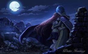 Картинка небо, девушка, облака, ночь, луна, аниме, слезы, арт, объятия, руины, парень, двое, fairy tail, сказка …