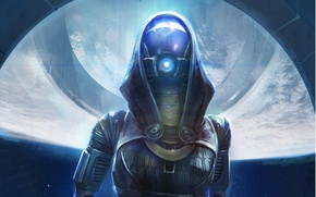 Картинка девушка, свет, арт, шлем, Mass Effect, Tali