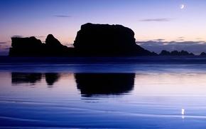 Картинка вода, отражение, скалы, Луна