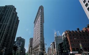Картинка небо, обои, улица, wallpaper, америка, нью-йорк, Манхэттен, сша, небоскрёбы, Manhattan, new york, утюг, Flatiron, Флэтайрон, ...