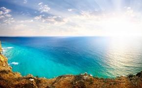 Картинка Небо, Солнце, Пейзаж, Природа, Облака, Скалы, Океан, Море