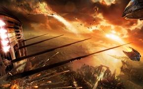 Картинка закат, корабли, бой, война миров