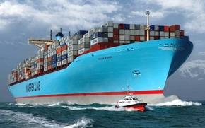 Картинка Вода, Море, Борт, Корпус, Судно, Контейнеровоз, Бак, Лоцман, Лоцманский катер, На ходу, Eugen Maersk, Груз, ...
