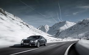Картинка snow, горы, дорога, speed, car, машина, sky, облака, clouds, снег, скорость, 2012 Bentley Continental GT ...
