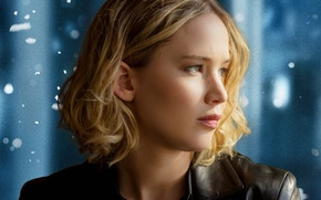 Картинка Girl, Beautiful, Winter, Green, Snow, Street, Female, Eyes, Blonde, Woman, Year, Brave, Jennifer Lawrence, 20th ...