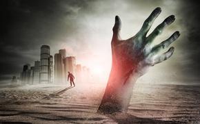 Картинка песок, небо, рука, зомби, horror