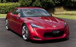 Картинка парковка, Toyota, красная, FT-1, FT-86 Concept