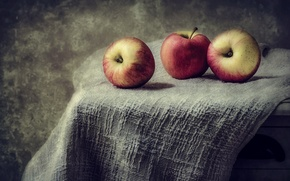 Картинка яблоки, еда, обработка, ткань, фрукты, натюрморт, обои от lolita777, ретро-стиль