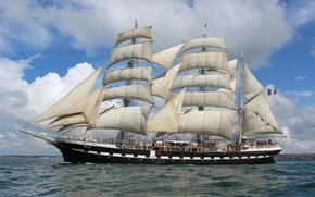 Обои sea, ocean, france, ship, sailboat, three masted, large sailboat, brest, belem, Sail
