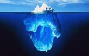 Картинка море, небо, вода, айсберг, гамма, цветовая