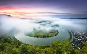 Обои германия, река, мозель, лето, туман