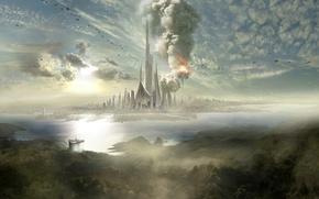 Обои облака, взрыв, город, остров, корабли, дымка, шпиль