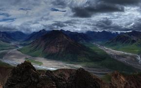 Картинка облака, горы, река, долина, Аляска, панорама, США, Denali National Park, Toklat River, Токлат-Ривер