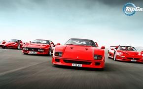 Картинка Top Gear, Ferrari, Red, F40, Enzo, Front, Supercars, Track, Italian, F50, 288 GTO