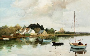 Картинка пейзаж, картина, бухта, лодки, Марсель Диф, Corner Point at Brillac