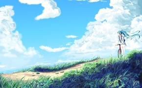 Картинка небо, девушка, облака, природа, велосипед, аниме, арт, vocaloid, hatsune miku, hopper