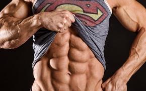 Картинка logo, superman, abs, bodybuilder
