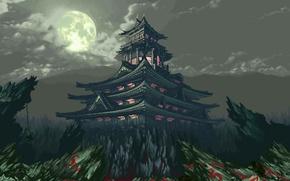 Картинка облака, свет, горы, скалы, Луна, Храм, 8-bit