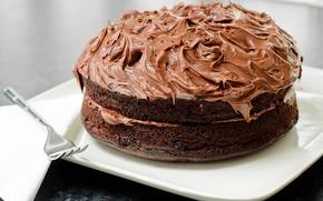Картинка еда, тарелка, торт, вилка, крем, десерт, выпечка, сладкое, шоколадный