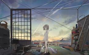 Обои комната, remosse512, арт, аниме, вещи, девушка, небо, звезды, облака, закат