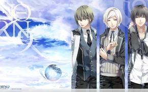 Картинка небо, галстук, форма, трое, art, студенты, visual novel, teita, norn9, kagami itsuki, nijou sakuya, azuma …