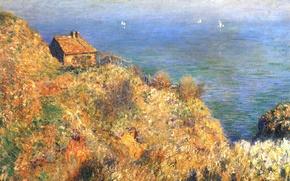 Картинка Клод Моне, картина, лодка, море, дом, скалы, парус, пейзаж