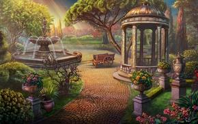 Картинка свет, цветы, Сад, фонтан, беседка