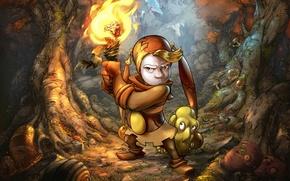 Картинка осень, лес, гусеница, огонь, пламя, клоун, факел, fire, flame, forest, autumn, clown, torch, Spot, caterpillar, …